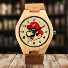Reloj Bambu y piel Mario Bros